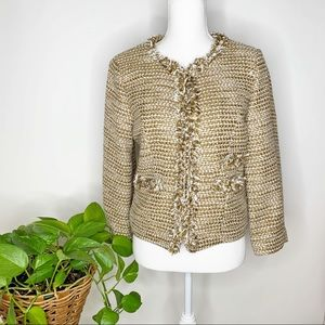 Cabi #343 Phoebe tweed cropped coat size 8 D0362